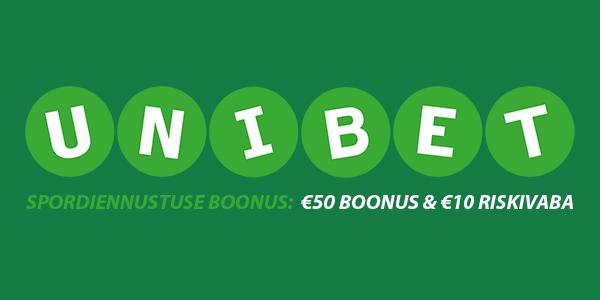 UNIBET'I SPORDIENNUSTUS: €50 boonust, €10 riskivaba ja 5 tasuta spinni