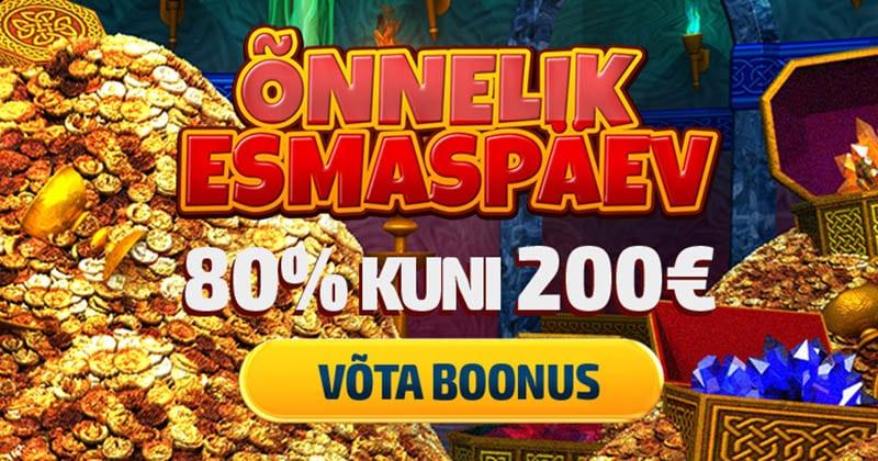 Esmaspäeviti GrandX Casinos 80% kuni €20 sissemakseboonust