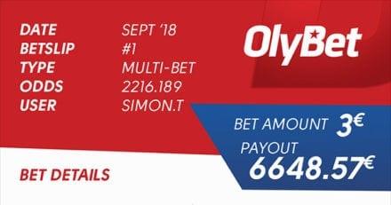 OlyBet'is võideti 3-eurose spordipanusega 6648.57 eurot