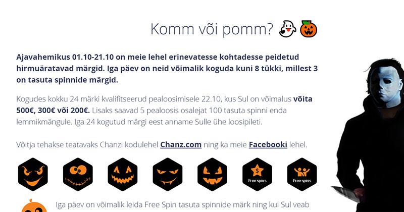 Chanz kasiino loosib Halloweeni puhul €1000 täiesti tasuta
