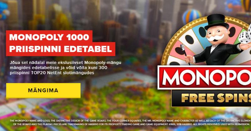 Optibet Monopoly kampaania – võida kuni 300 tasuta keerutust