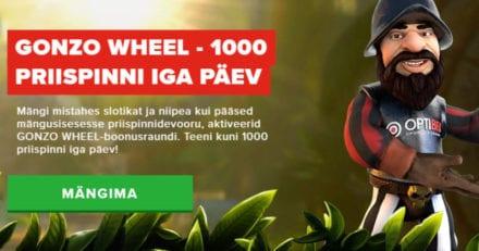 Optibet'i Gonzo Wheel kampaania – võida kuni 1000 lisa free spinni iga päev
