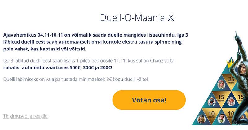 Chanz Casino Duell-O-Maania kampaania – auhinnafondis €1000 ja tasuta spinnid