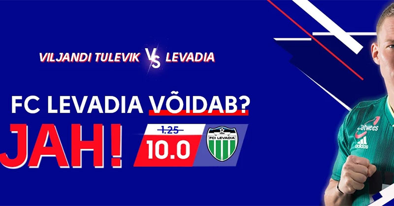 Olybet'i võimendatud koefitsent FC Levadia võidule