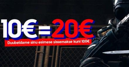 Olybeti E-Spordi pakkumine uutele kliendile – 100% boonus kuni summas €100