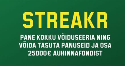 Unibeti tasuta ennustusmäng Streakr – auhinnafondis €25 000