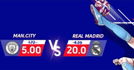 Olybet võimendatud koefitsiendid kohtumises Manchester City – Real Madrid
