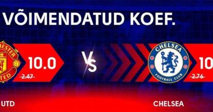 Olybet võimendatud koefitsiendid kohtumises Manchester United – Chelsea