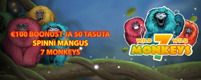Esimesel sissemaksel annab Chanz kuni €100 kasiino boonust ja 50 tasuta spinni mängus 7 Monkeys. Ava Chanz või loe rohkem Chanz boonuse kohta.
