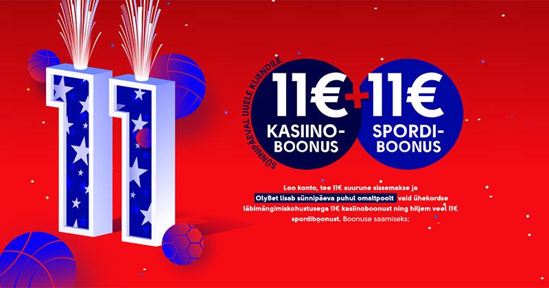 OlyBet'i sünnipäeva puhul saad €11 kasinosse, sporti, pokkerisse