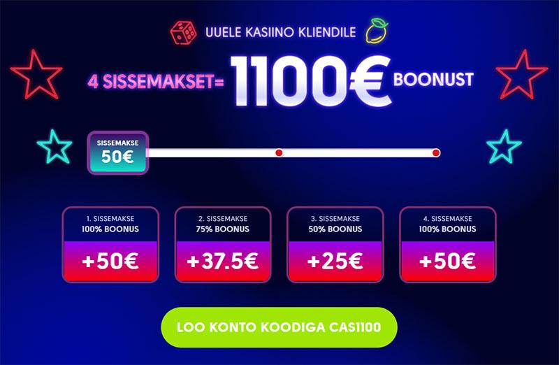 OlyBet kasiino boonus uutele klientidele on esimesel neljal sissemaksel kuni 1100 eurot boonusraha