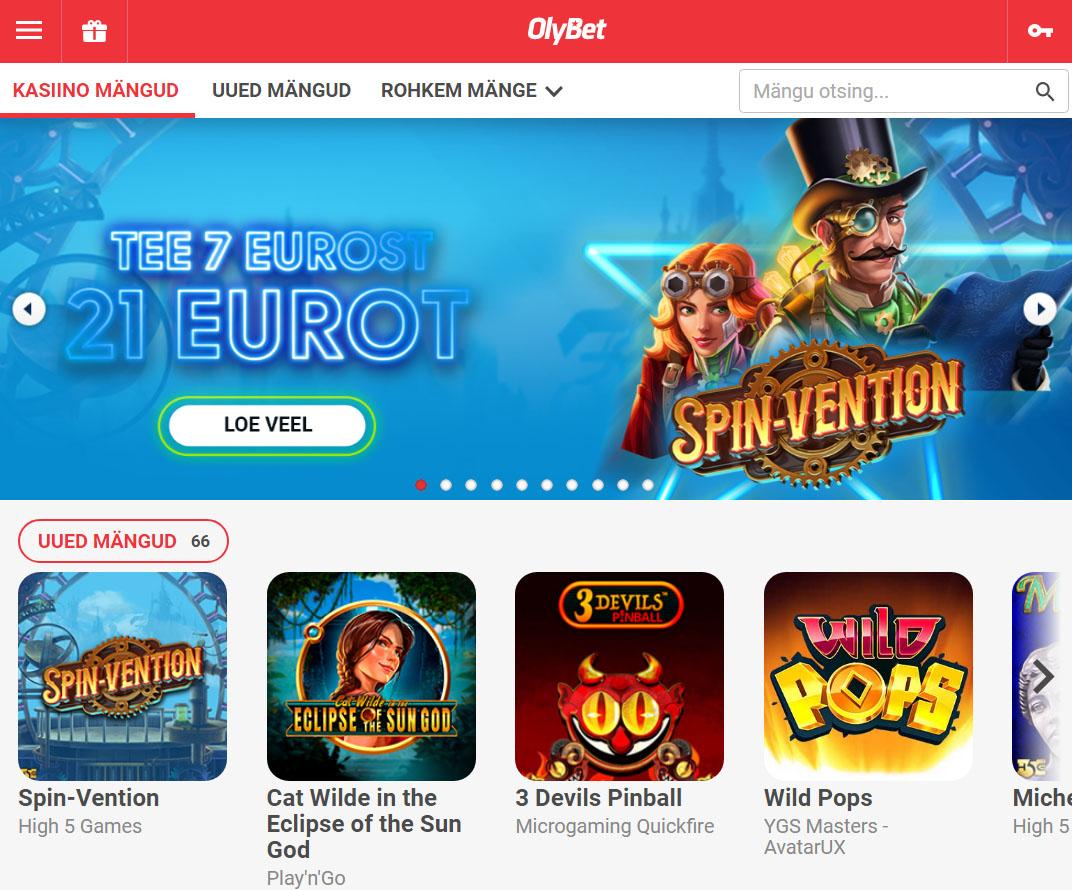 Ka OlyBet'i kasiinomängude leht on lihtne. Samuti on leitavad lihtsalt jooksvad kampaaniad nii uutele kui ka olemasolevatele klientidele.