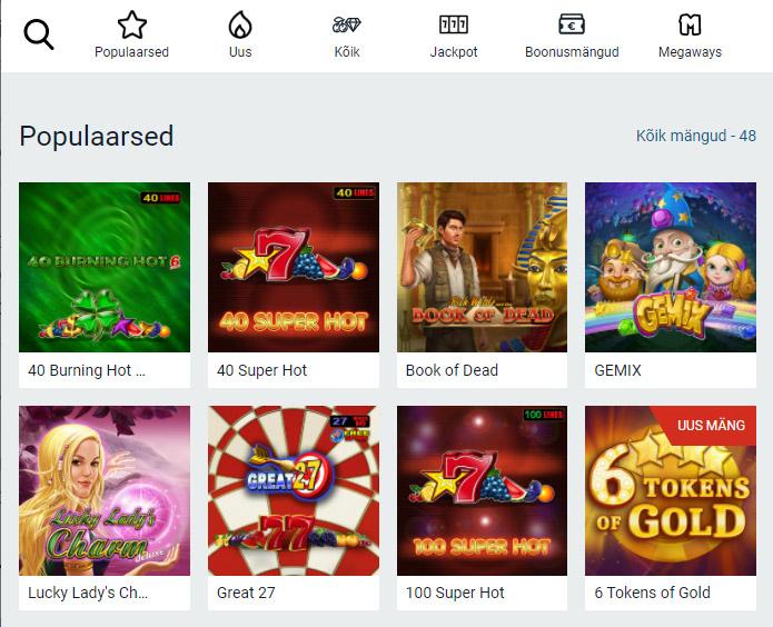 Optibet kasiino boonust saab kasutada ainult slotimängudes. Kokku on Optibeti kasiinos üle 2000 mängu. Tutvu Optibeti mängude valikuga »