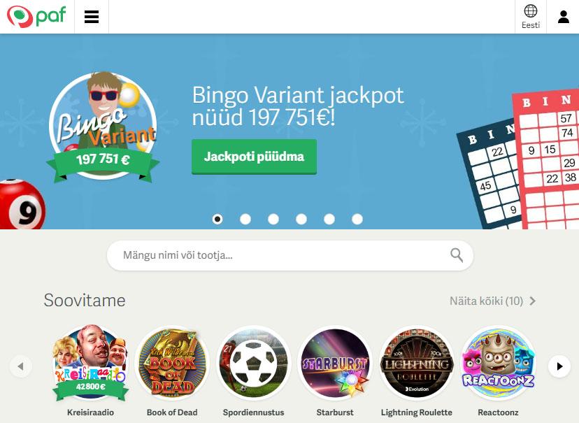 Paf pakub laias valikus kasiinomänge, spordiennustust, bingot, pokkerit ja palju teisi netihasartmängude teenuseid ja tooteid.