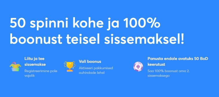 Slots.io kodumaine kiirkasiino annab esimesel sissemaksel 50 tasuta spinni ning teisel sissemaksel 100% kasiinoboonust.