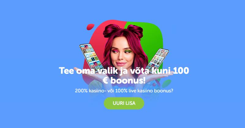 SuperCasino kasiino boonus - 200% kuni €100 boonust slotimängudesse või 100% kuni €100 live-kasiinose SuperCasino kasiino boonust.