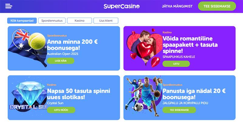SuperCasino pakub iga nädal uusi kampaaniaid ja pakkumisi.
