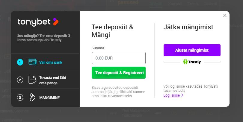 Eestis lubatud TonyBet'i online kasiino pakub võimalus registeeruda ja logida läbi pangalinkide kui ka kasutajanime ja parooliga.