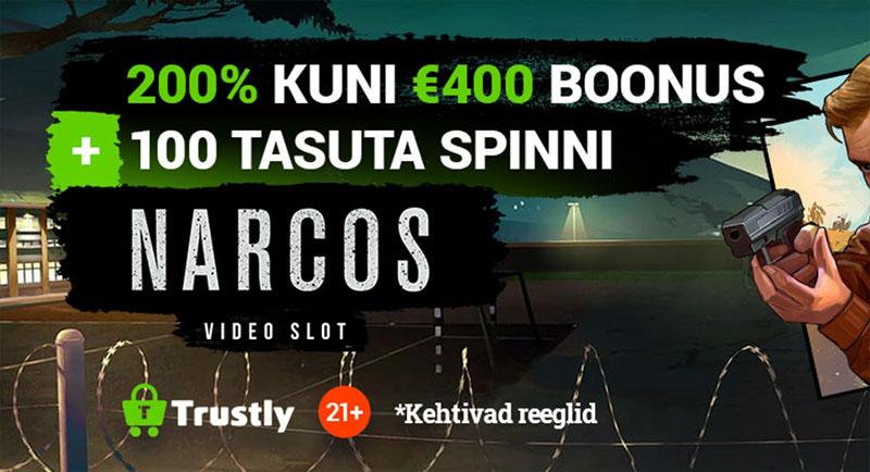 TonyBet pakub kasiino boonust ka läbi Trustly maksevahendaja. Nii saab 200% kuni €400 TonyBeti kasiino boonust ja lisaks 100 tasuta spinni krimislotimängus Narcos.