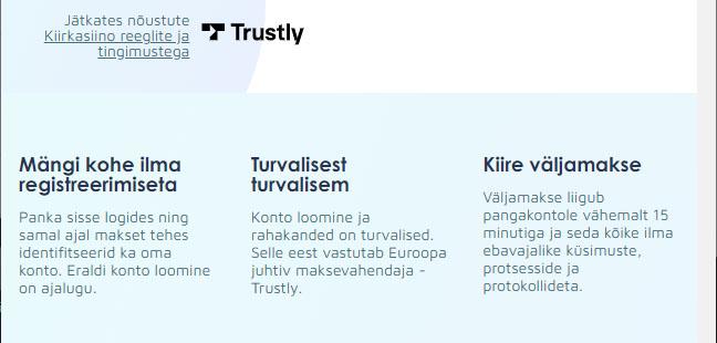 Kiirkasiino veebilehe näide. Turvalised sisse - ja väljamaksed ning vahendab Euroopa juhtiv maksevahendaja Trustly.