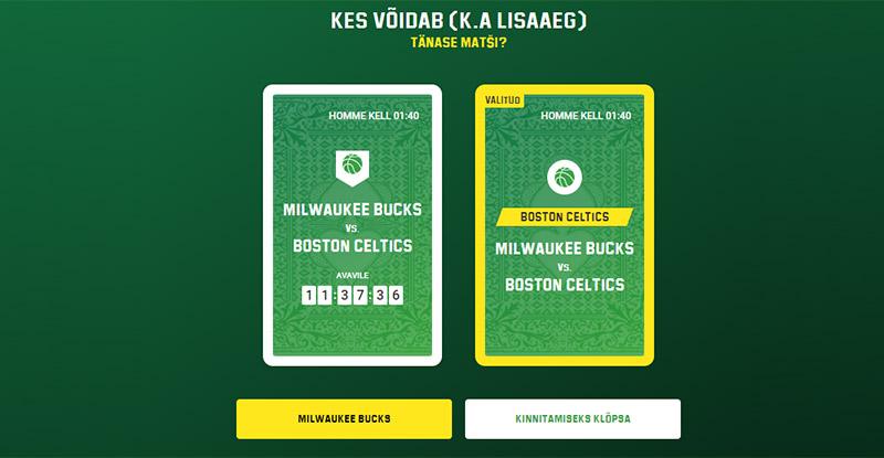 Näide: 26.03.2021 küsiti, kes võidab tänase Milwaukee Bucks vs Boston Celtics matši. Tee oma valik ning kui valik tehtud, vajuta nupule «KINNITAMISEKS KLÕPSA».  Seejärel naase järgmisel päeval ja vaata, kas võitsid. Samuti vasta uuele päevaennustusele, et suurendada oma võiduseeriat arvu ja võita uusi auhindu.