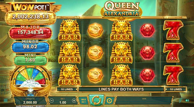 WowPot jackpotid artikli kirjutamise hetkel mängus Queen of Alexandria. Mänguga saab tutvuda ja proovida ka täiesti tasuta ilma kontot avamata. Selleks ava Paf. Valida menüüst slotimängud ja kirjutada otsingusse Alexandria ja avada mäng.