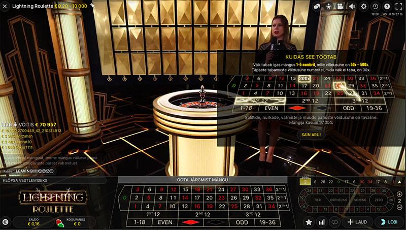Unibet live-kasiino Lightning Roulette. Igas mängus tabab välk ühte kuni viite numbrit, millele tuleb kordaja 50 kuni 500-kordne. Saades välkutabamuse saanud numbrile pihta, võidetakse panus tagasi 50 kuni 500-kordselt. NÄIDE: Mängite Lightning ruletti ja panustade 5 eurot numbrile neli. Diiler lõpetab panustamisvooru ja paneb ruletiratta keerlema, mis ühtlasi tähendab, et loositakse välknumbrid. Kokku tabab välk numbreid 4, 22 ja 35, millede kordajaks juhuse tahtel saavad vastavalt 500, 50 ja 200. Teid saadab õnn ja ruletirattal kuul langebki number nelja peal. Tabasite oma valitud numbrit, mis ühtlasi on välknumber ja mille kordaja on 500 ning seetõttu võidate nüüd tavapärase võidu asemel hoopis 500 x €5 ehk 2500. Antud ekraanitõmmise on vasakul näha, et keegi mängija hüüdnimega 1136 võitis ühe keerutusega €70 957. Samuti oli teistel mängijatel «väiksemaid võite» nagu näiteks €10 000, €3923 jne. Tutvu mänguga täiesti tasuta. Selleks KLÕPSA SIIN ja vali LIVE KASIINO ning seejärel Lightning Roulette. Lihtsalt logi kontole/ava konto ning saad mängu jälgida lives ja vaadata kui palju teised mängijad iga keerutusega võidavad.