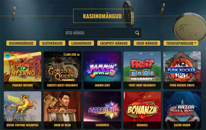 No Account Bet kasiino sloti - ja kasiinomängude valik. Kokku on üle 1500 erineva mängu ja valik on pidevas kasvamises.