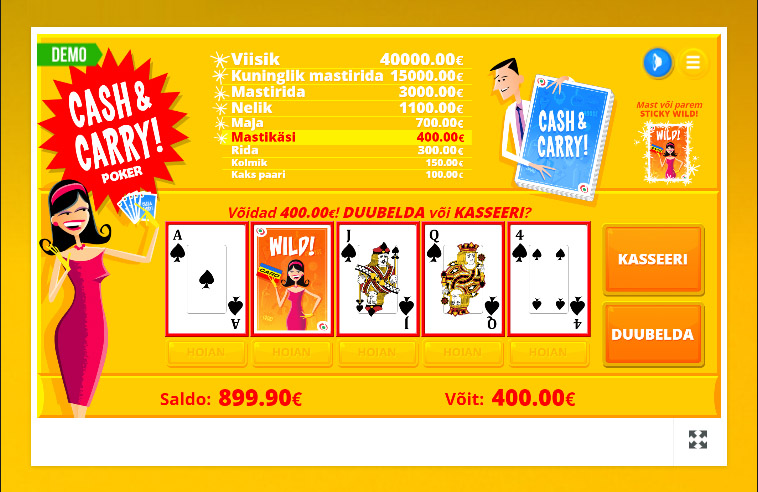 Pafi Cash & Carry Poker on 52-kaardiga videopokker, millele lisatud 1 Wild kaart (jokker). Saa mast või parem, siis järgmised viis kätt on kogu aeg Wild kaart aktiveeritud, mis suurendab võiduvõimalusi märgatavalt.