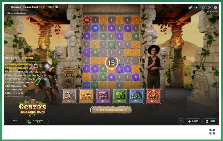 Gonzo's Treasure Hunt panustamine - tee sobilik panus (€0.10 - €1000) kivile või kividele ning seejärel vali, mitu otsimiskorda soovid.